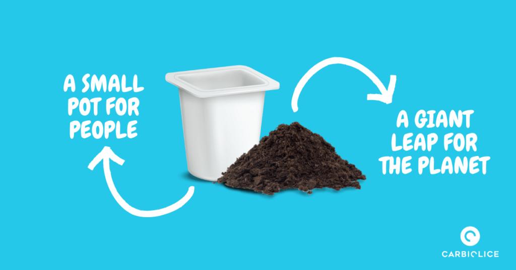 compost plastic yogurt pot